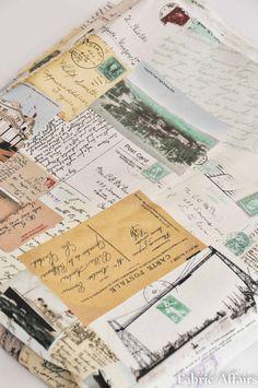 Vintage Retro Cotton Linen Fabric Postcards Stamps Travel