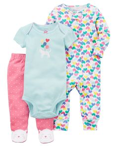Baby Girl 3-Piece Kitty Sleep & Play Set | Carters.com