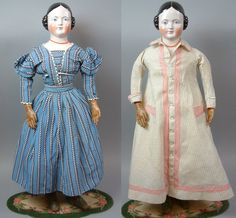 She truly has a very substantial head-- with lots of room for those fabulously modeled curls, Antique Toys, Vintage Toys, Covered Wagon, China Dolls, Old Dolls, Antique China, Half Price, Custom Dresses, Toys For Girls