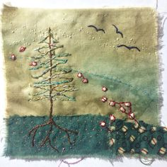 Christmas Embroidery Patterns, Hand Embroidery Stitches, Embroidery Fabric, Fabric Art, Embroidery Ideas, Vintage Embroidery, Hand Stitching, Diy Broderie, Fabric Journals