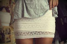 LOVE this white crochet skirt. So feminine.