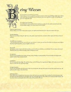 Book of Shadows:  Being Wiccan.