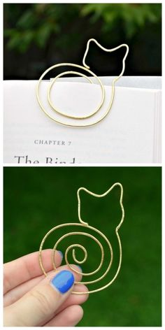 DIY Cat Bookmark Tutorial from One Artsy Mama.Since you are using soft wire this should be quite easy to bend and hammer depending on the look you want. Also, you can make a smaller version for a necklace. For one of the best DIY Wire archives go here. Also check out these very reasonably priced Kitty Wire Earrings for $8 from the Etsy store of DelightfullyTwisted (not a sponsored post).