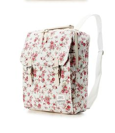 Flower Print Cotton Square Backpack 2 colors by BagDoRi on Etsy, $72.50