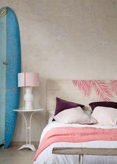 Pink Palm headboard//Cabecero de cama de madera Pink Palm