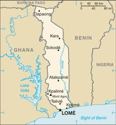 Togo is located in African continent with Ghana and Benin as border countries. It lies on the coast of Africa with the bordering Gulf of Guinea right below it.