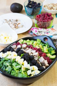 Making Summer Cobb Salad Recipe! #salad #cobbsalad #summer #berries