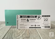 Destination Save the Date Boarding Pass - Travel Save the Date- Destination…