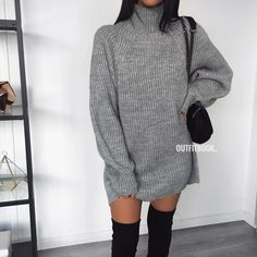 "cd271117f20 www.outfitbook.fr on Instagram  ""Grey jumper dress 🙌🏽✓ Super chaude et  confortable! Elle est maintenant disponible en gris et noir 😍"
