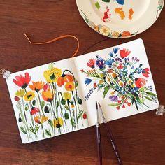 "@carolynj's photo: ""Friends brought flowers. #ziggy #watercolor #paint…"