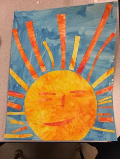 """Eric Carle inspired art (kids cut sun and """"rays"""") finger paint yellow let almost dry added orange. Blue & white tempers paint to get light blue - wide sweeps with sponge brushes Preschool art Kindergarten Art, Preschool Crafts, Kids Crafts, Sun Crafts, Art Classroom, Classroom Birthday, School Birthday, Farm Birthday, Birthday Parties"""