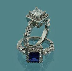 Stunning 14K White Gold Princess Cut Created by Jewelrybydicos,