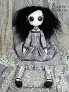 Gothic, button eyed cloth art doll Wenda Wildmeadow by Strange Little Girls  #strangelittlegirls #gothicdolls