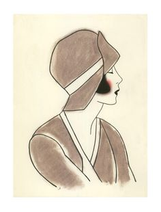 1920 Art Deco girl art  Poppy III  4 X 6 print by matouenpeluche, $6.50