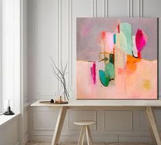 Abstract painting print ABSTRACT large Pink home decor