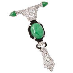 Art Deco Diamond Cabochon Jade Pendant Brooch    Antique