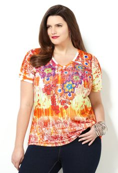 Mixed Floral Sublimation Tee-Plus Size Tee-Avenue