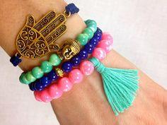 Mint, Hot Pink and Indigo Boho Bracelet Stack- Buddha, Tassel and Hamsa Bracelets