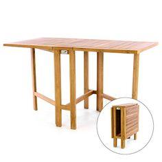 DIVERO GL05527 Klapptisch Balkontisch Gartentisch Esstisch Holz Teak Tisch  Für Terrasse Balkon Wintergarten Witterungsbeständig Behandelt Massiv