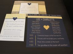 Picnic wedding invitations, wedding programs and wedding RSVP cards designed by Blue Ivory Weddings