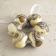 Handmade Lampwork Glass Beads Set of 6 Organic by SpawnOfFlame, $21.30