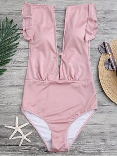 Sexy one piece monokini swimwear features ruffle detail and plunging collar with front bar for security,padded. Swimwear Type: One Piece Gender: For Women Mater Plunging One Piece Swimsuit, Pink Swimsuit, Monokini Swimsuits, Swimwear, Lingerie, Women Swimsuits, Beachwear, Bathing Suits, Summer Outfits