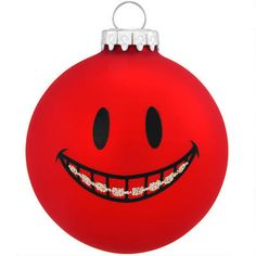 Red Smile With Braces Glass Ornament from Bronner's Christmas store of Christmas ornaments and Christmas lights Dental Assistant Humor, Dental Humor, Dental Hygiene, Braces Humor, Christmas Store, Christmas Fun, Office Christmas, Christmas Ornament, Orthodontics Marketing