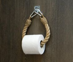 The toilet paper holder is made of natural jute rope and a metal brackets of silver color. Bathroom accessories in a Industrial style. You can also use the product as a towel holder or heated towel…More Towel Holder Bathroom, Paper Towel Holder, Towel Holders, Nautical Bathroom Decor, Downstairs Toilet, Nautical Rope, Roll Holder, Towel Rail, Jute