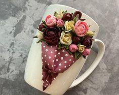 Polymer clay coffee and tea mug with cartoon & by MugsWorkshop