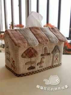 Japanese Patchwork, Japanese Quilts, Patchwork Bags, Quilted Bag, House Quilts, Fabric Houses, Tissue Box Covers, Tissue Boxes, Kleenex Box