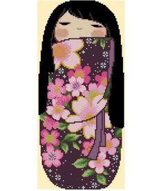 Japanese Kokeshi Girly Doll 7 KIYOMI par CrossStitchRinna sur Etsy