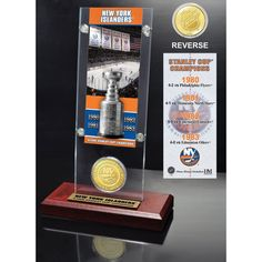 Highland Mint New York Islanders 4x Stanley Cup Champions Ticket and Bronze Coin Acrylic Display, Team