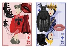 """""""Lady Tremaine and Queen Grimhilde"""" by lillypotatao ❤ liked on Polyvore featuring Seletti, Lime Crime, Chicwish, JustFab, Dsquared2 and modern"""