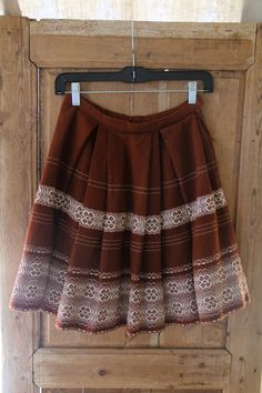 1960s Fall Wool Ethnic Embrodered Mini Skirt
