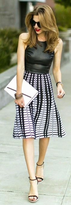 Leather Tank + Patterned Skirt  #FashionTrend #FashionStyle #StreetStyle #LeatherTop #FashionWear #Skir #SkirtStyle