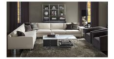 Hunter as an L-shaped sectional with a pair of swivel chairs. Add flat-screen and it's movie-night ready - MITCHELL GOLD + BOB WILLIAMS