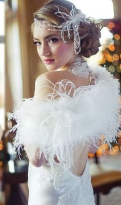 Vintage Inspired Ivory Ostrich Feather Bridal Shrug Wrap by Athena Crystal Couture. Worst Wedding Dress, Making A Wedding Dress, V Neck Wedding Dress, Classic Wedding Dress, Wedding Dresses, Gatsby Wedding Dress, Great Gatsby Themed Wedding, Masquerade Wedding, Wedding Hijab