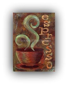 Espresso painting, Original, Coffee wall art, Coffee cup art, Coffee collage, Acrylic kitchen art, 5 x 7 Original coffee  art, Espresso art on Etsy, $35.00
