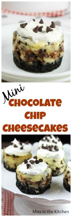 Mini Chocolate Chip Cheesecakes Recipe ~ Delicious dessert for any occasion! From MissintheKitchen.com