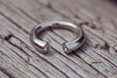 Crescent ring white18k gold dimonds by LenaYastreb on Etsy