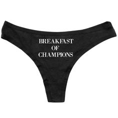 e6cbd39cc9 Funny Thongs - Breakfast of Champions - Funny Panties - Womens Underwear -  Funny Black Thong - Adult Underwear - Custom Panties - Property