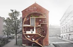 Urban Development: an apartment that is built in the narrow space between historic three-story homes