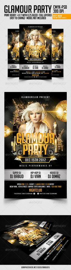Glamour Party Flyer Template #glamour #flyer #template #gold