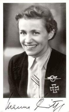 Luftwaffe Flugkapitän Hanna Reitsch (1912-1979) was the only woman awarded the Iron Cross First Class and the Luftwaffe Combined Pilot-Observation Badge in Gold with Diamonds. She was the last Luftwaffe pilot to see Hitler in his bunker shortly before his suicide, having flown Generaloberst Robert Ritter von Greim into Berlin on April 26, 1945 in a Fieseler Fi-156 Storch, landing on an improvised airstrip in the Tiergarten near the Brandenburg Gate.