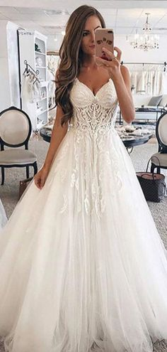 Graceful A-Line Spaghetti Straps Sweetheart Tulle Long Wedding Dresses With Lace,VPWD310 Lace Weddings, Wedding Dresses, Fashion, Gowns, Bride Dresses, Moda, Wedding Gowns, Fasion, Dress Wedding