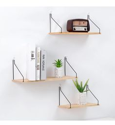 Nordic Metal and Wood Hanging Wall Shelves - office inspiration - Shelves in Bedroom Wooden Wall Shelves, Wall Shelf Decor, Mounted Shelves, Wall Shelves Design, Hanging Shelves, Wooden Walls, Display Shelves, Metal Walls, Diy Wall