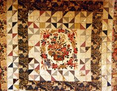 """A Quilt from the Beamish Collection.  Framed Quilt from the Hayden Bridge area, made c 1820 – 25.    Possibly the work of """"Joe The Quilter."""""""