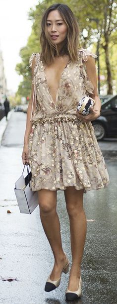 Chloe Dress And Chanel Slingbacks Fall Street Style Inspo by Song Of style