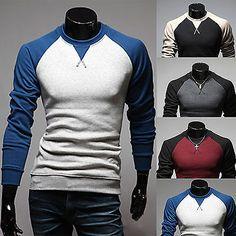 684c3281f66 Mens Autumn Long Sleeve Casual Slim Crew Neck Raglan Baseball Tee Tops  T-shirts
