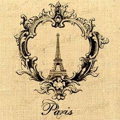 French digital sheet image Paris tour eiffel Download royal vintage romantic For print on iron transfer tag label napkins burlap pillow n366